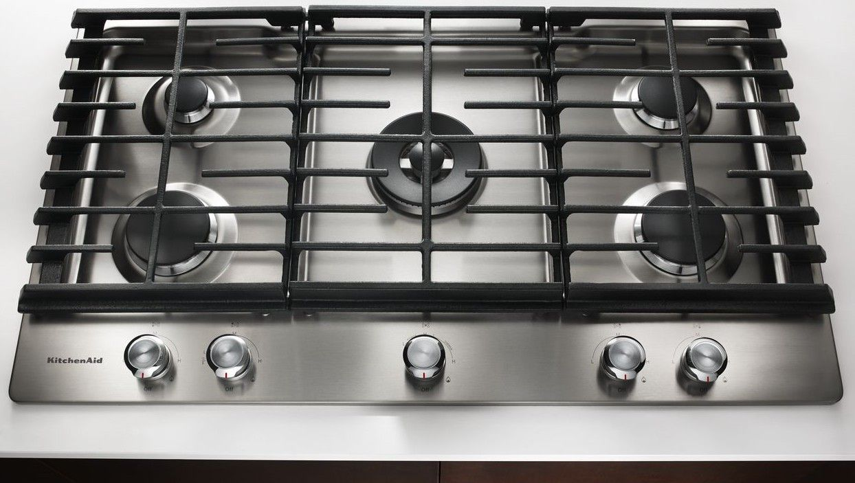 Kcgs550ess Kitchenaid 30 5 Burner Gas Cooktop With Even Heat Simmer Stainless Steel