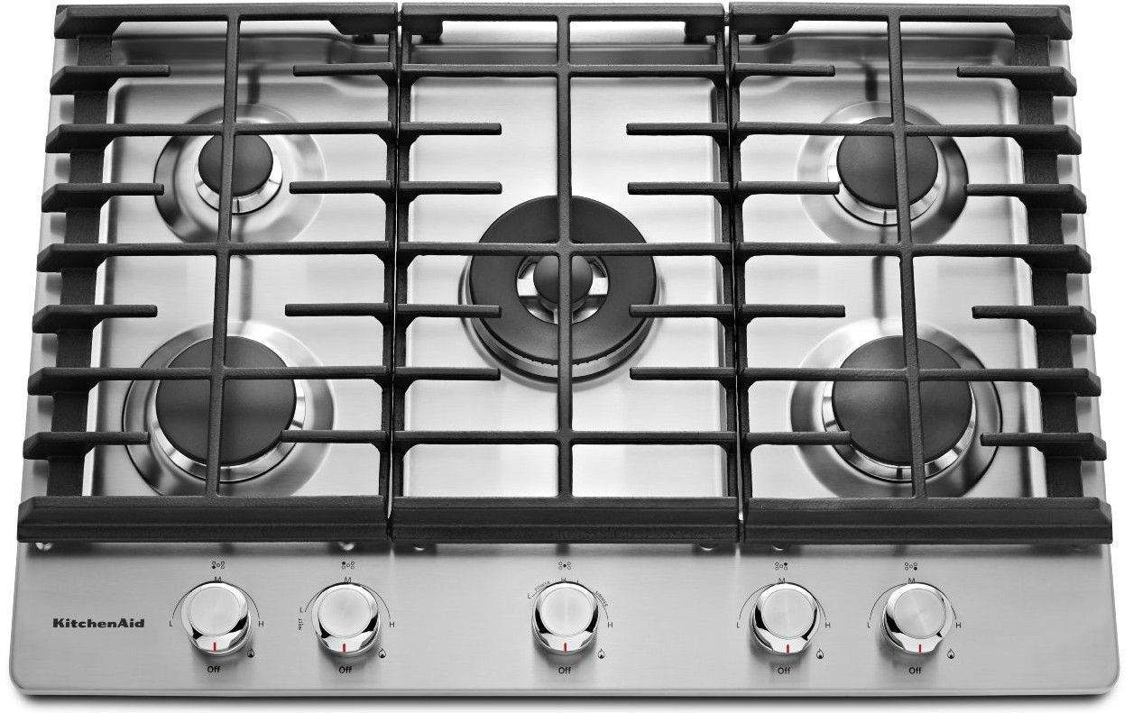 Kcgs556ess Kitchenaid 36 5 Burner Gas Cooktop With Even Heat Simmer Stainless Steel Code 23172 Manufacturer Model