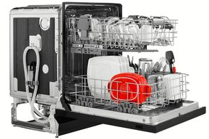 """KDFE104HBL KitchenAid  24"""" 46 DBA Front Control Built-In Undercounter Dishwasher with PowerWash Cycle and SatinGlide Max Railes - Black"""