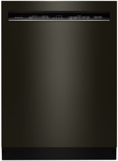 "KDFE104HBS KitchenAid 24"" 46 DBA Front Control Dishwasher with PowerWash Cycle and SatinGlide Max Railes - PrintShield Black Stainless Steel"