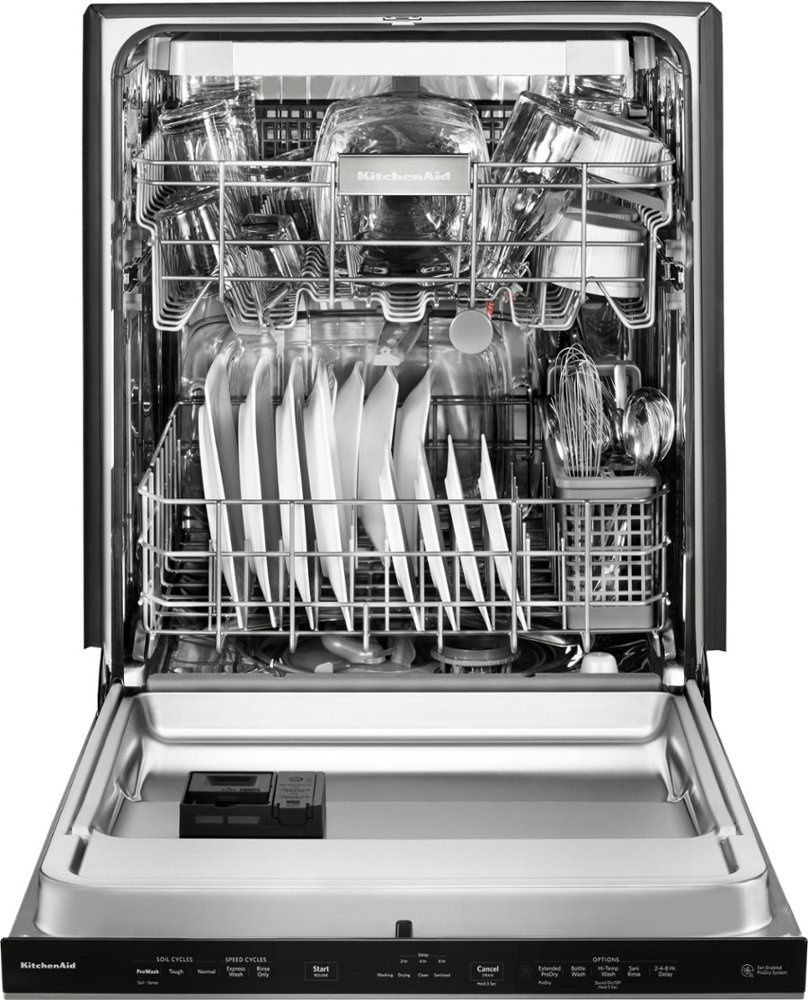 """kdpe234gbs kitchenaid 24"""" built-in dishwasher with third"""