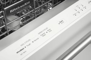 """KDTE234GWH KitchenAid 24"""" Built-In Dishwasher with Third Level Rack and Heat Dry Option - White"""