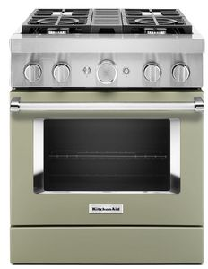 KFDC500JAV KitchenAid 30 Inch Smart Commercial-Style Dual Fuel Range with 4 Burners - Avocado Cream