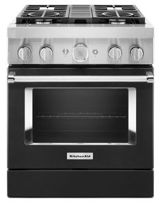 KFDC500JBK KitchenAid 30 Inch Smart Commercial-Style Dual Fuel Range with 4 Burners - Imperial Black