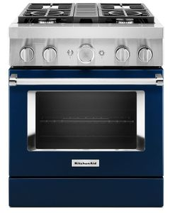 KFDC500JIB KitchenAid 30 Inch Smart Commercial-Style Dual Fuel Range with 4 Burners - Ink Blue