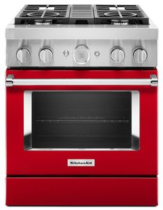 KFDC500JPA KitchenAid 30 Inch Smart Commercial-Style Dual Fuel Range with 4 Burners - Passion Red