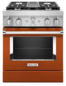 KFDC500JSC KitchenAid 30 Inch Smart Commercial-Style Dual Fuel Range with 4 Burners - Scorched Orange