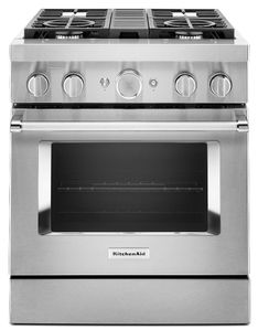 """KFDC500JSS KitchenAid 30"""" Smart Commercial Style Dual Fuel Range with 4 Burners and EasyConvect - Stainless Steel"""