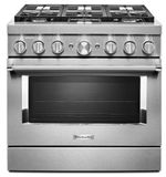 """KFDC506JSS KitchenAid 36"""" Smart Commercial Style Dual Fuel Range with 6 Burners and EasyConvect - Stainless Steel"""