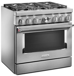 "KFDC506JSS KitchenAid 36"" Smart Commercial Style Dual Fuel Range with 6 Burners and EasyConvect - Stainless Steel"
