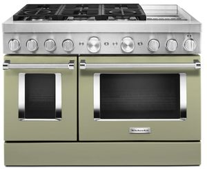 KFDC558JAV KitchenAid 48 Inch Smart Commercial-Style Dual Fuel Range with 6 Burners and Griddle - Avocado Cream