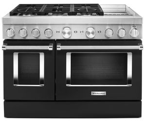 KFDC558JBK KitchenAid 48 Inch Smart Commercial-Style Dual Fuel Range with 6 Burners and Griddle - Imperial Black