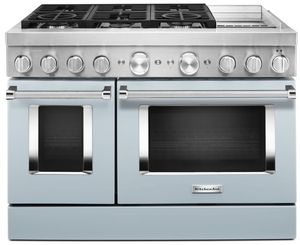 KFDC558JMB KitchenAid 48 Inch Smart Commercial-Style Dual Fuel Range with 6 Burners and Griddle - Misty Blue