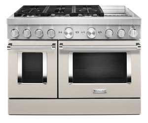 KFDC558JMH KitchenAid 48 Inch Smart Commercial-Style Dual Fuel Range with 6 Burners and Griddle - Milkshake