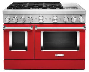 KFDC558JPA KitchenAid 48 Inch Smart Commercial-Style Dual Fuel Range with 6 Burners and Griddle - Passion Red