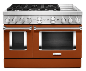 KFDC558JSC KitchenAid 48 Inch Smart Commercial-Style Dual Fuel Range with 6 Burners and Griddle - Scorched Orange