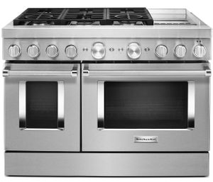 "KFDC558JSS KitchenAid 48"" Smart Commercial Style Dual Fuel Range with 6 Burners and EvenHeat Chrome Griddle - Stainless Steel"