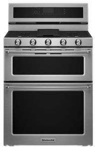 "KFDD500ESS KitchenAid 6.7 Cu. Ft. 30"" Double Oven Dual Fuel 5 Burner Convection Range with SatinGlide Rack and Glass Touch Controls - Stainless Steel"
