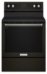 "KFEG500EBS KitchenAid 6.4 Cu. Ft. 30"" Electric 5 Element Convection Range with Aqualift and Hidden Bake - Black Stainless Steel"