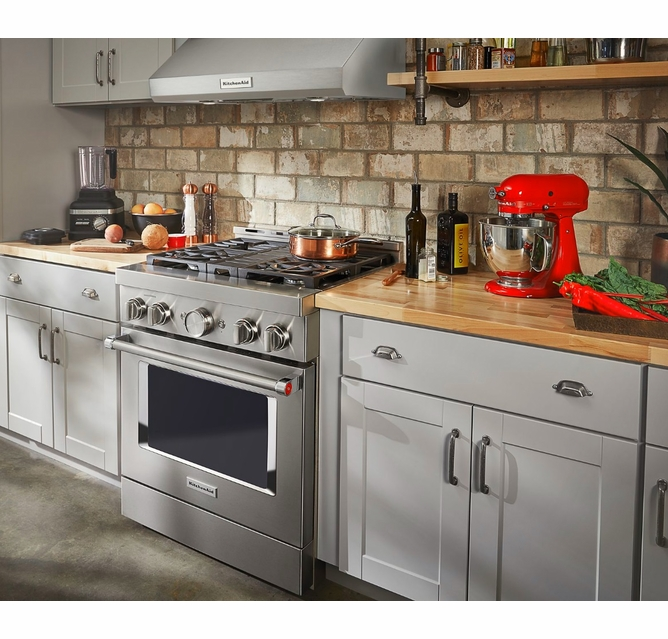 Kfgc500jss Kitchenaid 30 Smart Commercial Style Gas Range With 4 Burners Stainless Steel