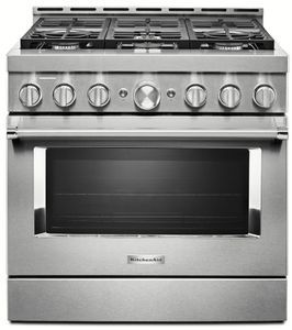 """KFGC506JSS KitchenAid 36"""" Smart Commercial-Style Gas Range with 6 Burners - Stainless Steel"""