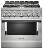 "KFGC506JSS KitchenAid 36"" Smart Commercial-Style Gas Range with 6 Burners - Stainless Steel"