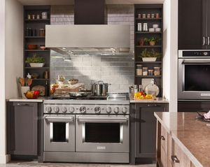 """KFGC558JSS KitchenAid 48"""" Smart Commercial-Style Gas Range with 6 Burners and Griddle - Stainless Steel"""