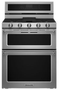 """KFGD500ESS KitchenAid 6.0 Cu. Ft. 30"""" Gas 5 Burner Double Oven Convection Range - Stainless Steel"""