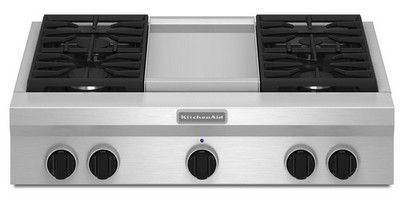 Kgcu463vss Kitchenaid 36 Commercial Gas Cooktop With Griddle Stainless Steel