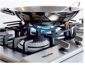 """KM2032LP Miele 30"""" Built In 5 Burner Gas Cooktop with Sealed Burners and 1 Mono Wok - Liquid Propane - Stainless Steel"""