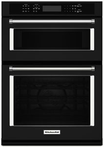 """KOCE500EBL KitchenAid 30"""" Even-Heat True Convection Combination Wall Oven with Built In Microwave and SatinGlide Extension Rack - Black"""