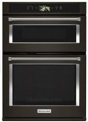"""KOCE900HBS KitchenAid 30"""" Even-Heat True Convection Combination Wall Oven with Temperature Probe and SatinGlide Extension Rack - Print Shield Black Stainless Steel"""