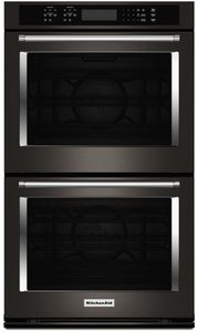 """KODE500EBS KitchenAid 30"""" Double Wall Oven with Even-Heat and True Convection - Black Stainless Steel"""