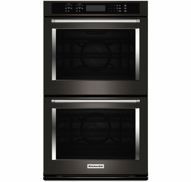 Kode500ebs Kitchenaid 30 Double Wall Oven With Even Heat And True Convection Black Stainless Steel