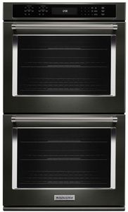 "KODE507EBS KitchenAid 27"" Double Wall Oven with Even-Heat True Convection - Black Stainless Steel"