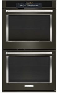 """KODE900HBS KitchenAid 30"""" Double Wall Oven with Even-Heat and True Convection - Print Shield Black Stainless Steel"""