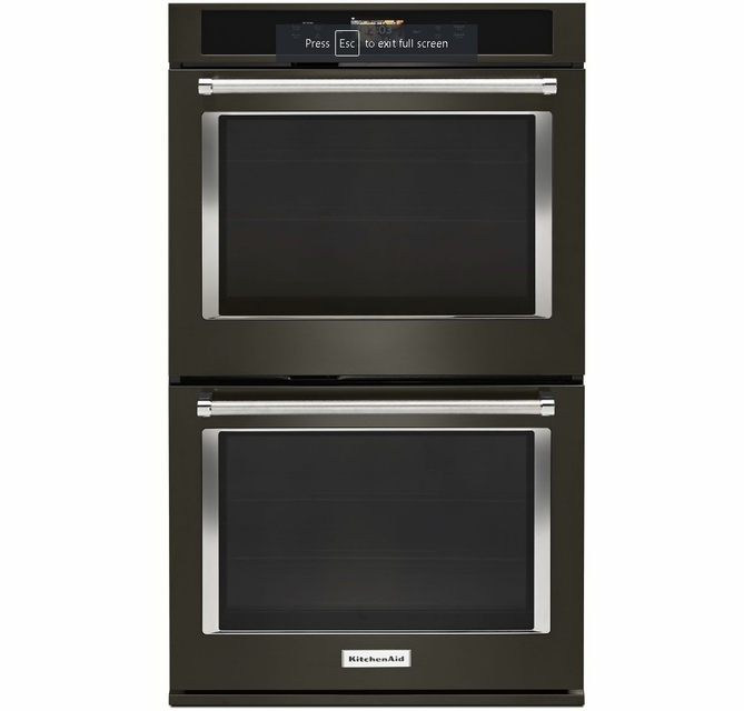 Kode900hbs Kitchenaid 30 Double Wall Oven With Even Heat And True Convection Print Shield Black Stainless Steel