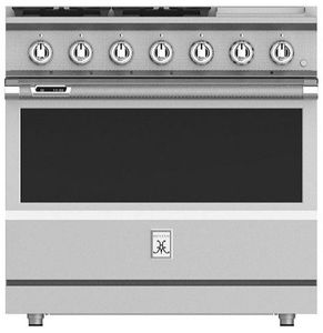 """KRD364GDLP Hestan 36"""" KRD Series Dual Fuel Range with 4 Burners and Griddle - Liquid Propane - Steeletto Stainless Steel"""