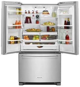 "KRFC300ESS KitchenAid 20 cu.ft. 36"" Width Counter Depth French Door Refrigerator with Interior Dispense - Stainless Steel"