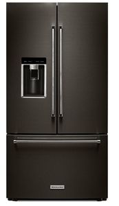 "KRFC704FBS 36"" KitchenAid 23.8 cu.ft. Counter Depth French Door Refrigerator with Panoramic LED Lighting and FreshSeal Herb Storage - Black Stainless Steel"