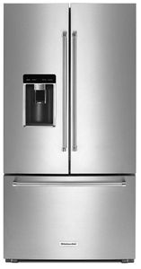"""KRFC704FSS 36"""" KitchenAid 23.8 cu.ft. Counter Depth French Door Refrigerator with Panoramic LED Lighting and FreshSeal Herb Storage - Stainless Steel"""