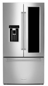 """KRFC804GPS KitchenAid 36"""" 23.5 cu.ft. Counter Depth French Door Refrigerator with Panoramic LED Lighting and FreshSeal Herb Storage - Print Shield Stainless Steel"""