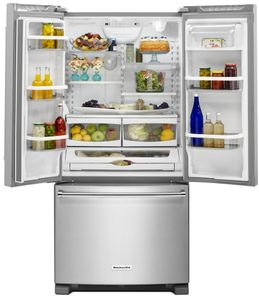 "KRFF302ESS KitchenAid 22 Cu. Ft. 33"" Width Standard Depth French Door Refrigerator with Interior Dispense - Stainless Steel"