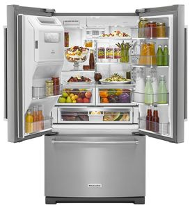"KRFF507HPS KitchenAid 36"" 26.8 cu.ft. Standard Depth French Door Refrigerator with Exterior Ice and Water ExtendFresh Temperature Management System - PrintShield Stainless Steel"