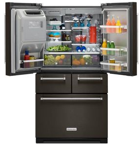 "KRMF706EBS KitchenAid 36"" Multi-Door Freestanding Refrigerator with Platinum Interior Design - Black Stainless Steel"