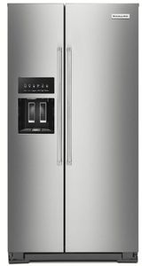 "KRSC703HPS KitchenAid 36"" Counter Depth Side-by-Side Refrigerator with In Door Ice System and Clear Door Bins - PrintShield Stainless Steel"