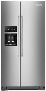 """KRSC703HPS KitchenAid 36"""" Counter Depth Side-by-Side Refrigerator with In Door Ice System and Clear Door Bins - PrintShield Stainless Steel"""