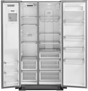 """KRSF705HBS KitchenAid 36"""" Side-by-Side Refrigerator with In Door Ice System and Clear Door Bins - PrintShield Black Stainless Steel"""