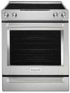 "KSEB900ESS KitchenAid 7.1 Cu. Ft. 30"" 5-Element Electric Convection Slide-In Range with Baking Drawer - Stainless Steel"