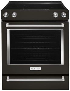 """KSEG700EBS KitchenAid 6.4 Cu. Ft. 30"""" Electric 5 Element Slide-in Convection Range with Aqualift and Glass Touch Controls - Black Stainless Steel"""